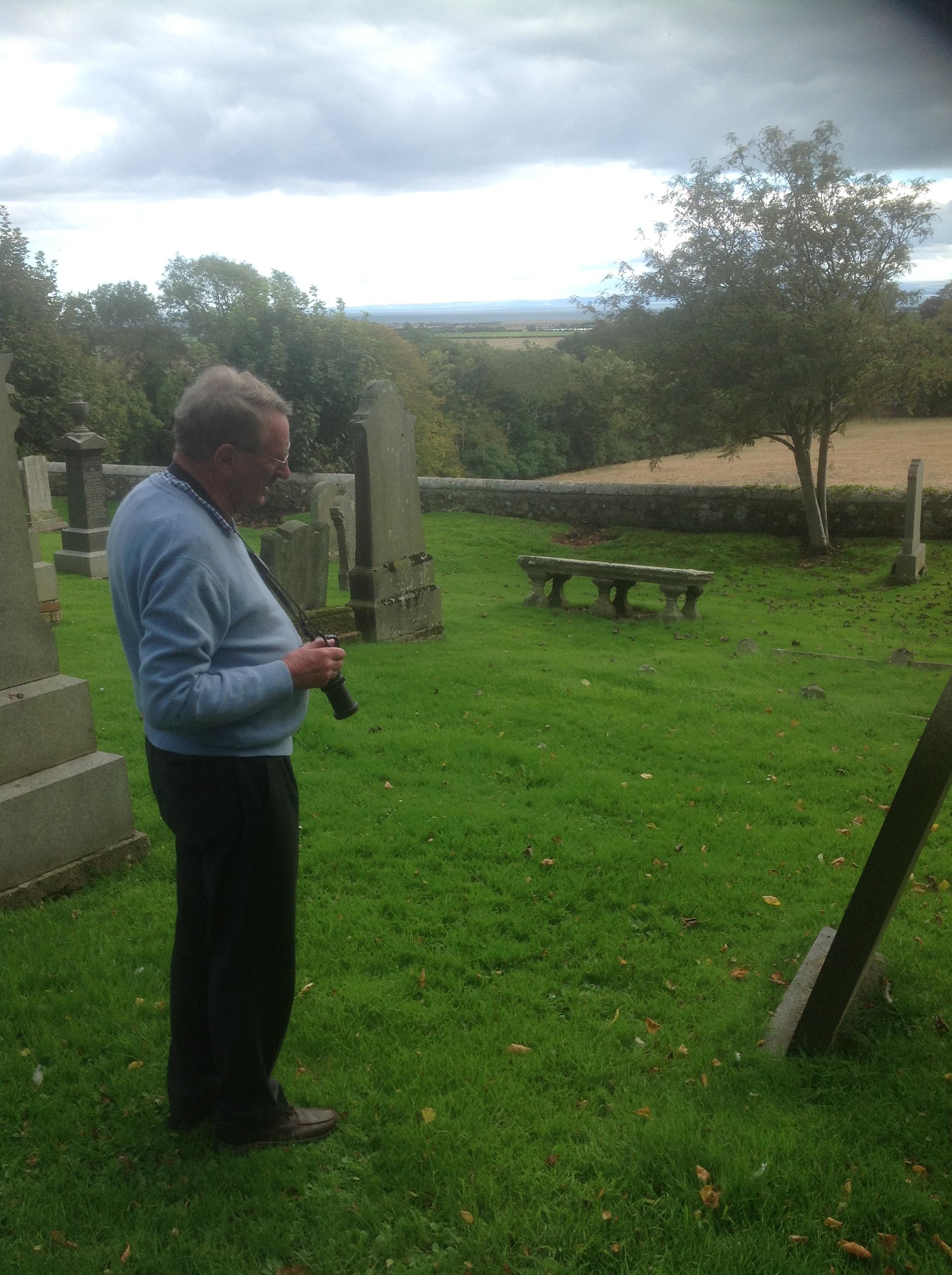 John Bugg from Australia in Carnbee Churchyard, Fife