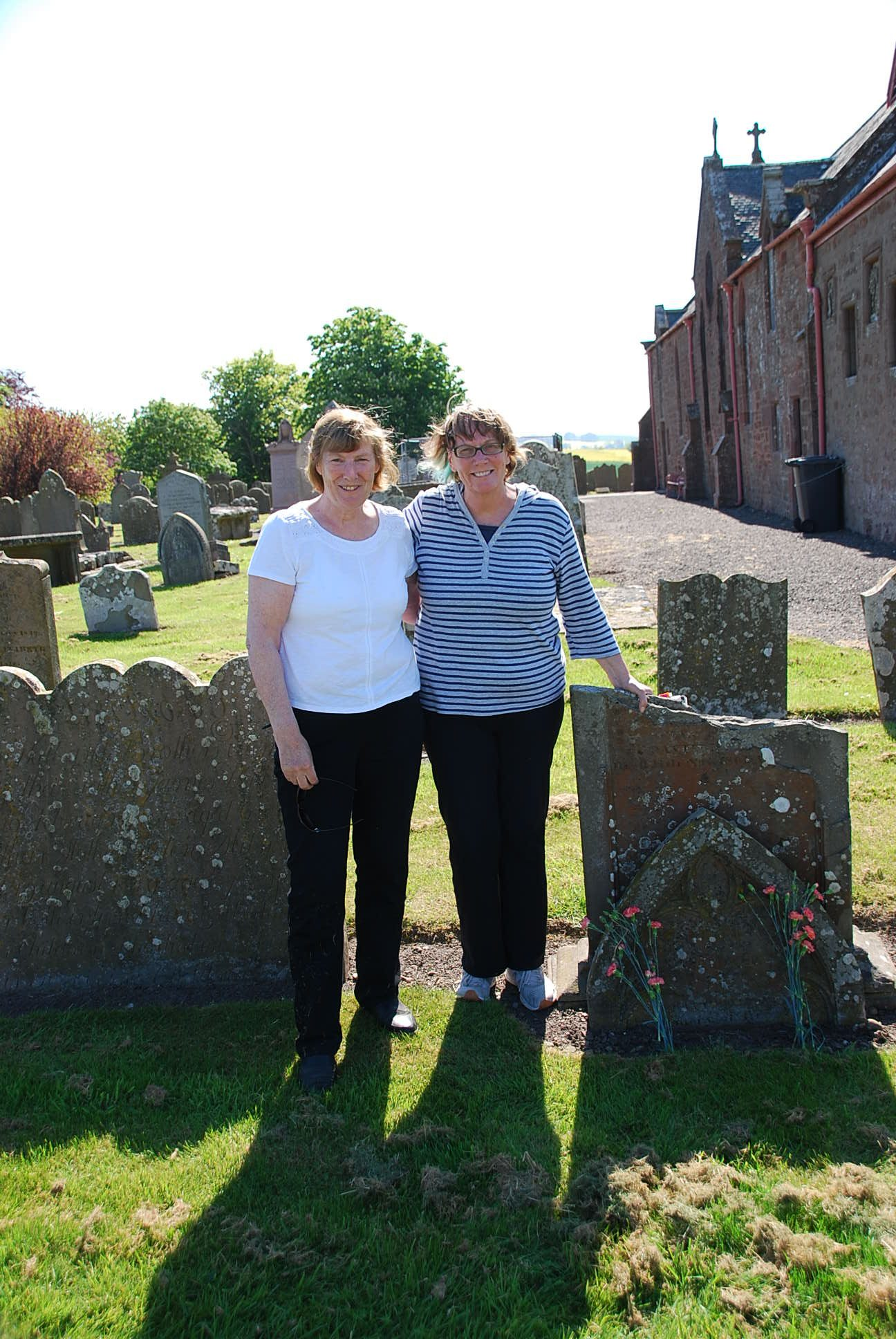 Frances with Chris from Canada at Inverkeillor Churchyard